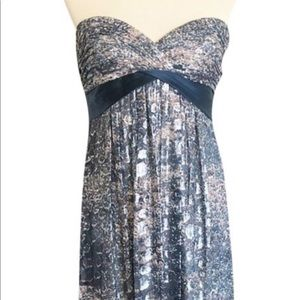 BCBGMaxAzria Silk & Glitter Gown Maxi Dress Sz 4